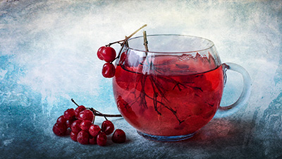 Photoart Winter tea with arrowwood JGora Ukraine